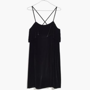 NWT Madewell Ruffle Mini Black Velvet Dress XL